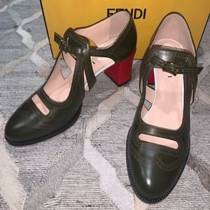 Fendi Chameleon Leather Green and Red Mary Janes